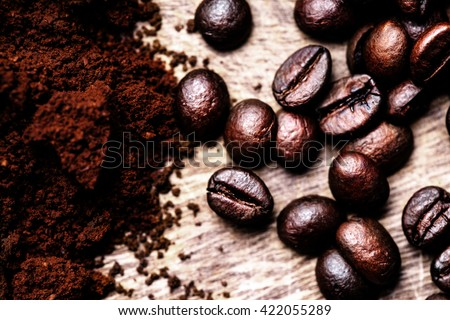 Coffee Beans/ Ground  Coffee top view image  / Natural coffee background - stock photo