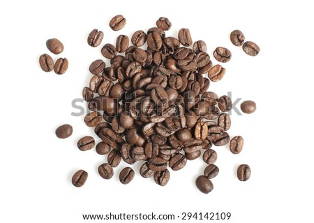 Coffee beans heap isolated on white background - stock photo