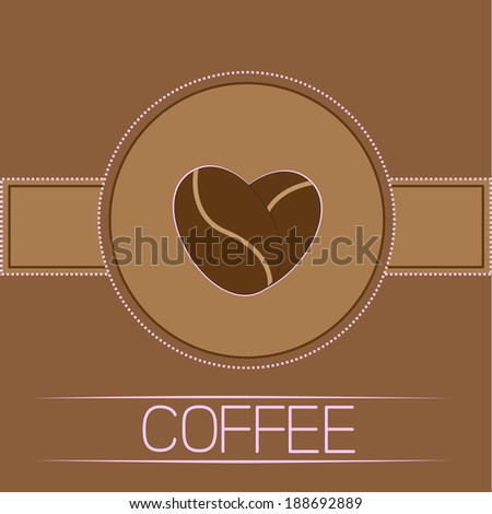 Coffee beans heart. Card. Pink text. Rasterized copy - stock photo
