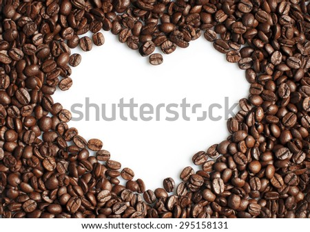 Coffee beans heart shaped frame on white - stock photo