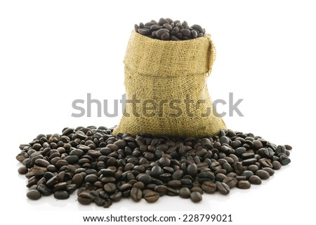 Coffee beans in a bag Isolated on White Background - stock photo
