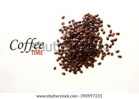 Coffee beans in a bowl on a white background, text - stock photo
