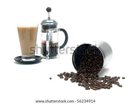 Coffee beans in a canister and a coffee plunger isolated against a white background - stock photo