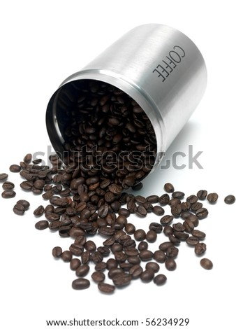 Coffee beans in a canister isolated against a white background - stock photo