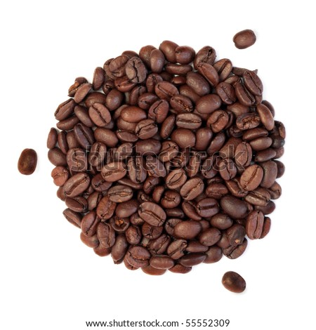 Coffee beans in a circular shape with three scattered isolated over white background. - stock photo