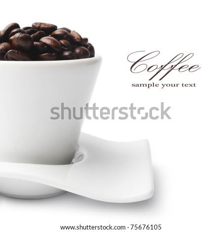 coffee beans in a cup isolated on white background - stock photo