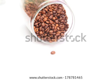coffee beans in a glass jar - stock photo