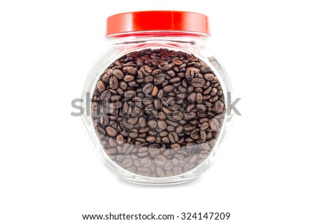 coffee beans in a glass jar isolated on white background - stock photo