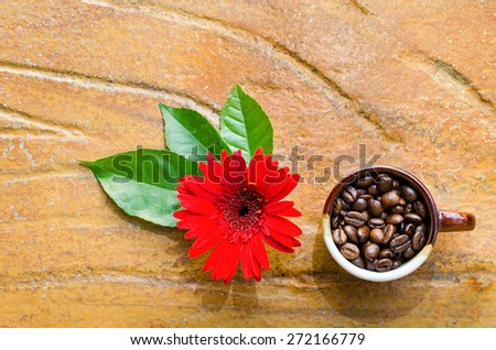 Coffee beans in a mug  with flower and leaves top view - stock photo