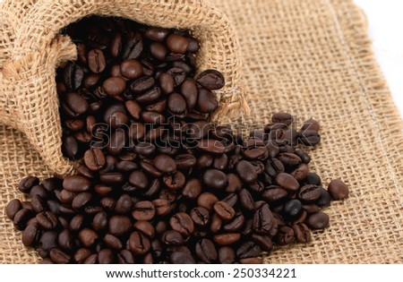 Coffee Beans in a sack Bag on sack background.
