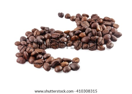 Coffee beans in a yin and yang isolated on white background