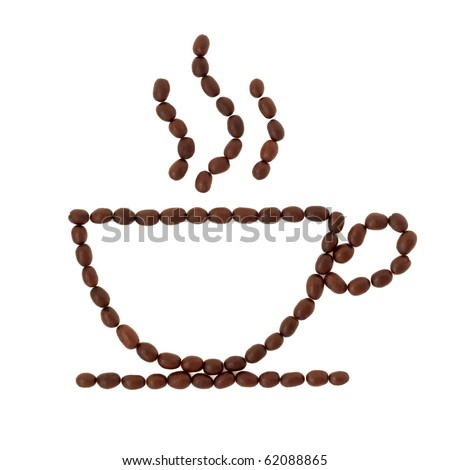 Coffee beans in abstract shape of a cappuccino cup and saucer with aroma steam trails, isolated over white background. - stock photo