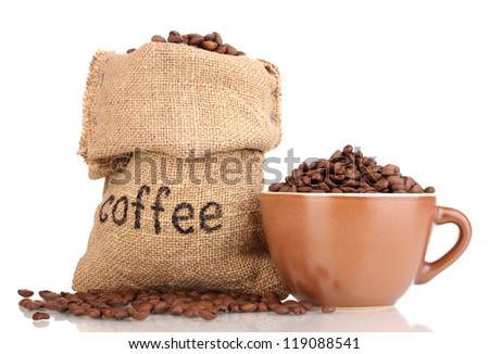 Coffee beans in bag and in cup isolated on white