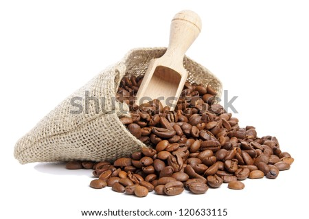 Coffee beans in burlap sack / Coffee Beans - stock photo