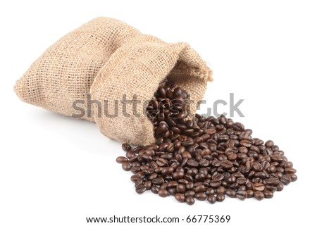 Coffee beans in canvas sack on white background - stock photo