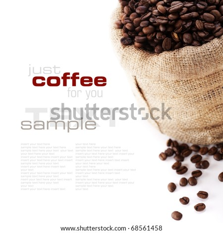 Coffee beans in canvas sack (with sample text) - stock photo