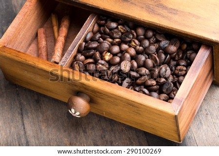 coffee beans in drawer