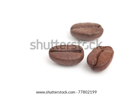 Coffee beans in isolated white background