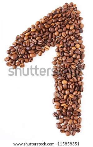 Coffee beans in shape numeral on the isolated white background. Figure one - stock photo