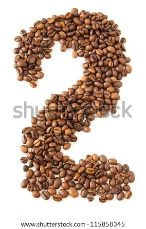 Coffee beans in shape numeral on the isolated white background. Figure two - stock photo
