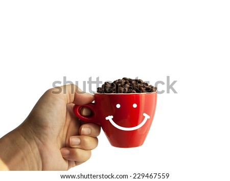 coffee beans in smile cup - stock photo