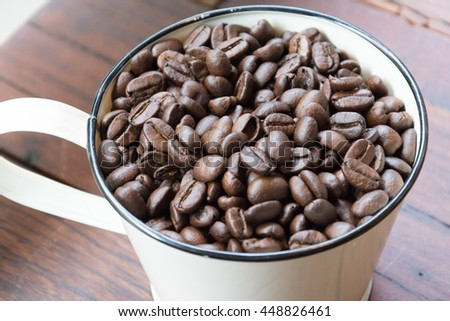 Coffee beans in soft light,selective focus point.