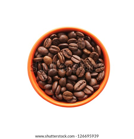 Coffee beans in the orange bowl. Top view. Isolated on white background. - stock photo
