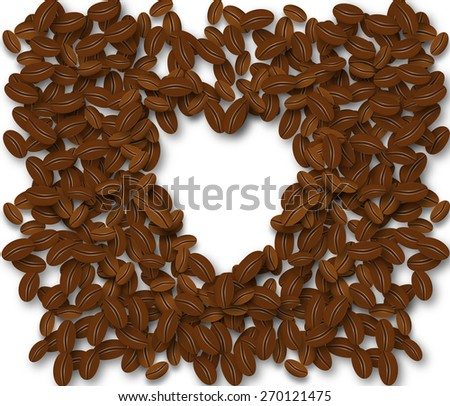 Coffee beans in the shape of a heart isolated on a white background. Coffee beans laid out in the form of heart background.  - stock photo