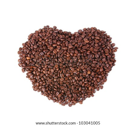 coffee beans in the shape of the heart isolated on white background