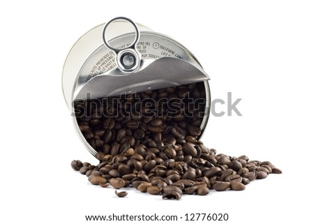 Coffee beans in tin can isolated on white - stock photo
