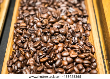Coffee beans in wood tray - background