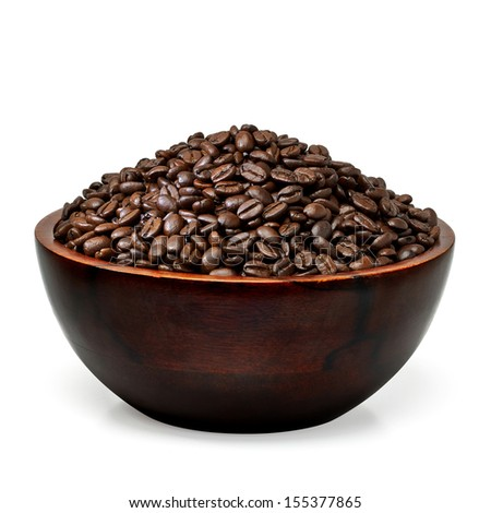 Coffee beans in wooden bowl on white background  - stock photo