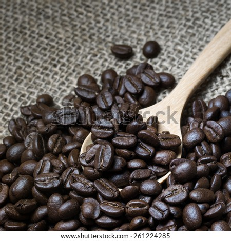Coffee beans in wooden spoon - stock photo