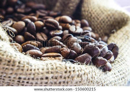 Coffee beans in wool sack - stock photo