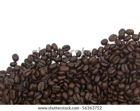 Coffee beans isolated against a white background - stock photo