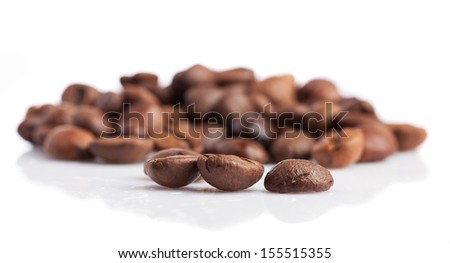 coffee beans isolated on a white background - stock photo