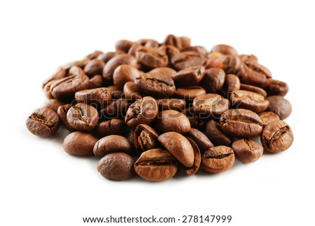 Coffee beans isolated on white - stock photo
