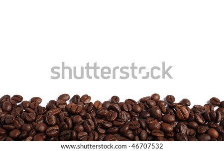 coffee beans isolated on white - a border - stock photo