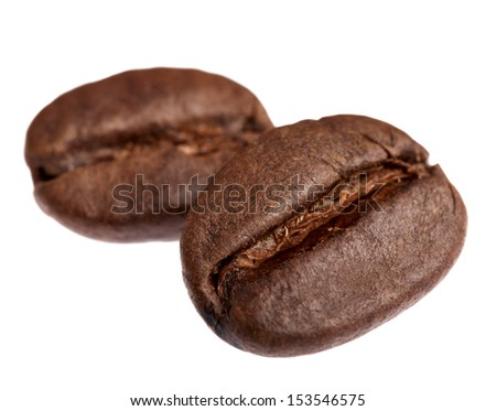 coffee beans, isolated on white background - stock photo