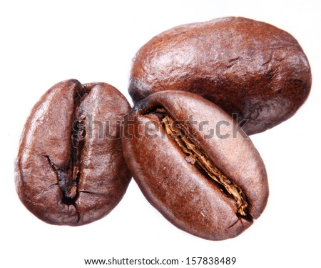 Coffee beans isolated on white background. - stock photo