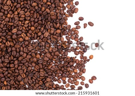 Coffee Beans isolated on white background in the closeup - stock photo
