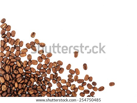 coffee beans isolated on white background. roasted coffee beans, can be used as a background. - stock photo