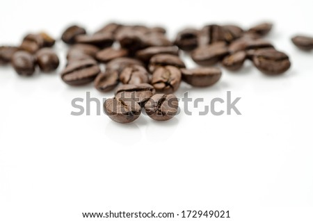coffee beans isolated on white background.Selective focus.