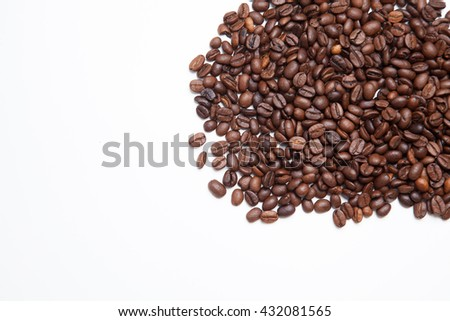 coffee beans isolated on white. Coffee background - stock photo