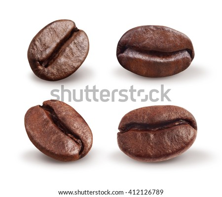 coffee beans isolated on white with clipping path - stock photo