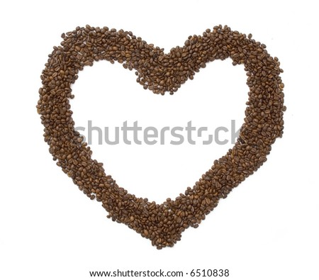 coffee beans make a heart - stock photo