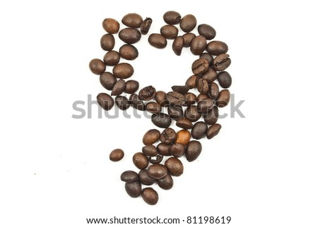 Coffee beans number 9 isolated on the white. - stock photo