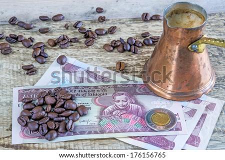 Coffee beans of Ethiopia - stock photo