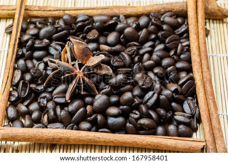 Coffee beans on a mat