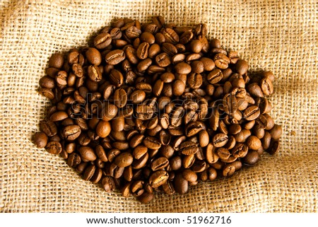 coffee beans on a sack - stock photo